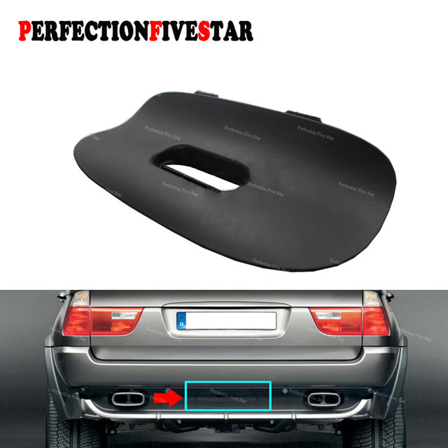 51128402327 For BMW E53 X5 E53 2000 2006 Black Rear Bumper Tow Bar Cover Trim Flap Trailer Hitch Mount with Hole 51 12 8 402 327
