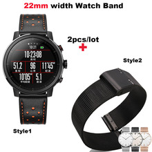 Купить с кэшбэком Leather Bracelet Strap 22mm Smart Watch Metal Black Pulsera Correa Band for Huami Amazfit Pace Stratos 2 for Huawei Watch GT Pro