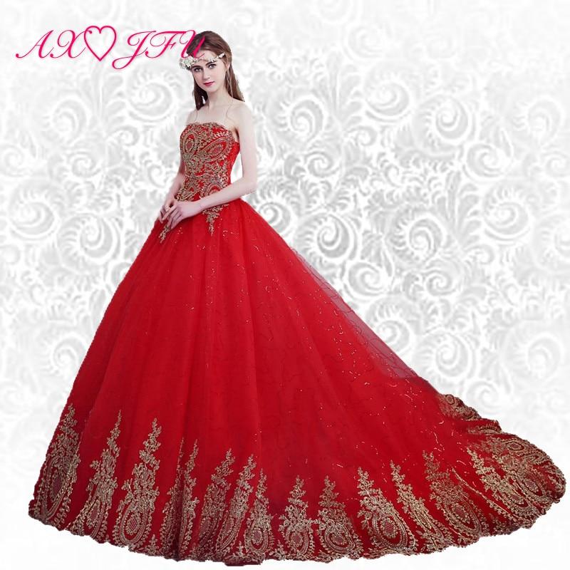 AXJFU princesa rdeči dvorni vlak Poroka obleka rdeča čipkasta vlak Poroka obleka princesa cvet rdeča poročna obleka