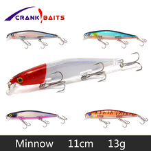 цена CRANK BAITS Slowly Sinking Wobblers Artificial  Bait 110mm 13g Laser Minnow Fishing Lure Pesca Hooks  1PCS Deep Diving YB433 онлайн в 2017 году