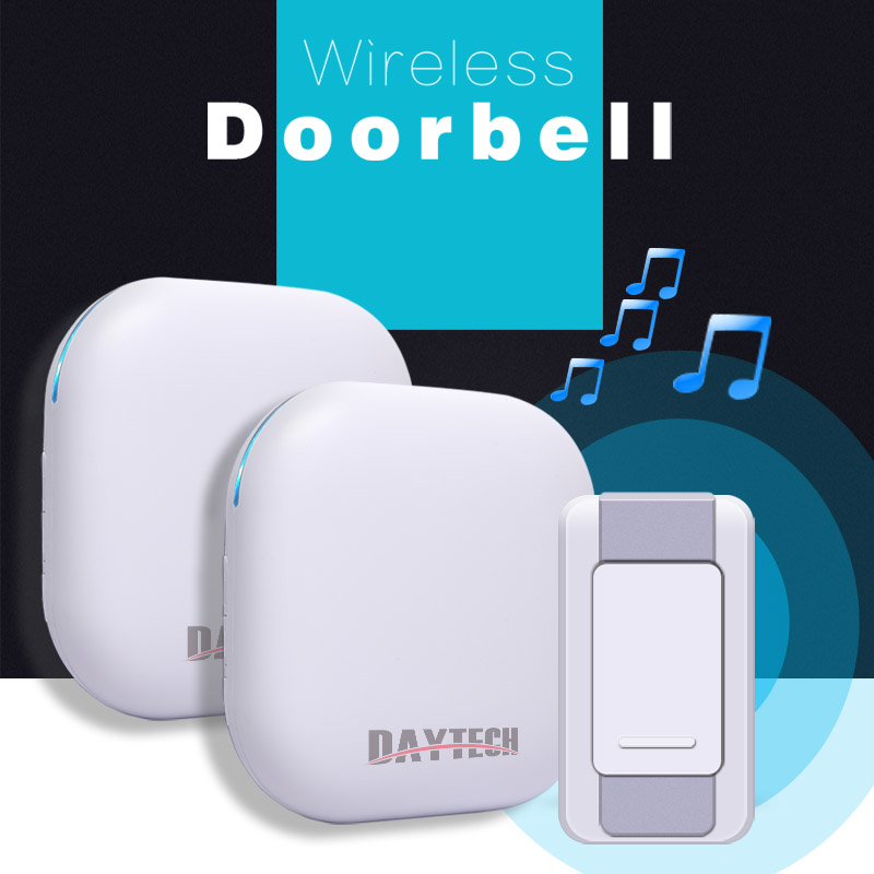 DAYTECH Wireless DoorBell Ring Waterproof IP55 36 Chimes ring Home Security Door Bell Kit 2 Plugin Receivers 1 Push Button waterproof doorbell led digital 2 receivers 36 tunes wireless 100m range remote control home gate security door bell kit