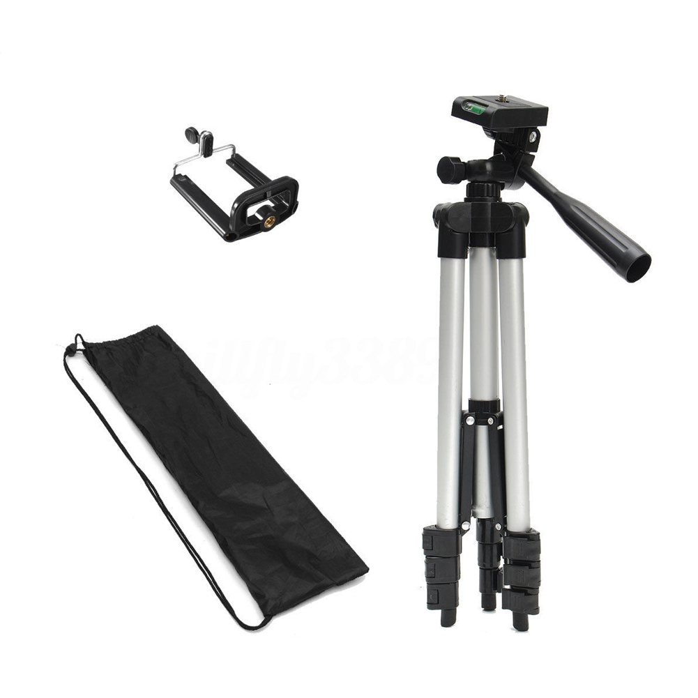 Portable And Flexible Adjustable 35cm-100mm 360 Horizontal Telescopic Camera Tripod Aluminun Stand Holder Mount+u-clip