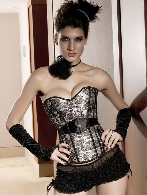 4769ed8ff1 free shipping sexy bustier lady shaper lingerie victorian tight lacing  corsets under wear Cabaret Laurie Lace Corset set LC5132