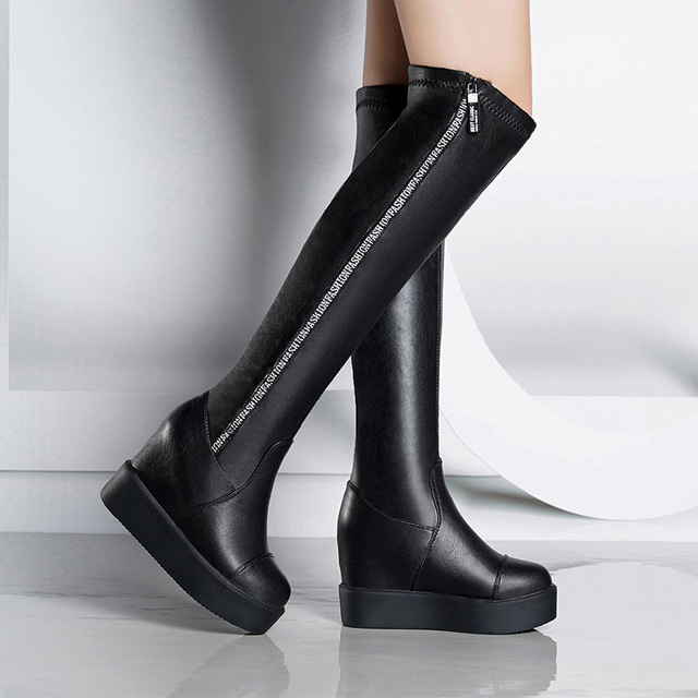 8ffa3adc2b7 2019 Sexy Slim Women s Wedges Over the Knee Boots Brand High Heels Platform  Boots Slip on Winter Boots Shoes Woman Boot