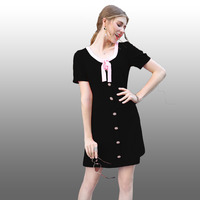 2017 Spring Summer European Short Puff Sleeve Beading Mini Dress High Quality V Neck Bow Slim