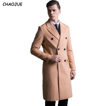 CHAOJUE mens clothing 2017 winter double breasted woolen coat male European long inimation cashmere trench coat slim fit blends