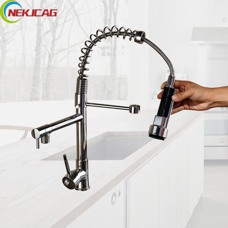 Chrome Finished Single Handle Double Spout Kitchen Faucet Deck Mounted Kitchen Vessel Sink Mixer Tap nwe contemporary double curved single handle pull out spout chrome finished one hole kitchen faucet