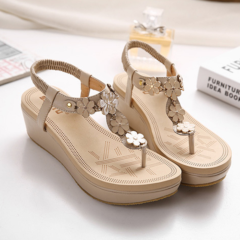 Thick Platform Summer Beach Women Shoes Sandals Bohemia Wedge Gladiator Casual Flip-Flops Sexy 2017 Fashion Girls Sandals ABT535 phyanic 2017 gladiator sandals gold silver shoes woman summer platform wedges glitters creepers casual women shoes phy3323