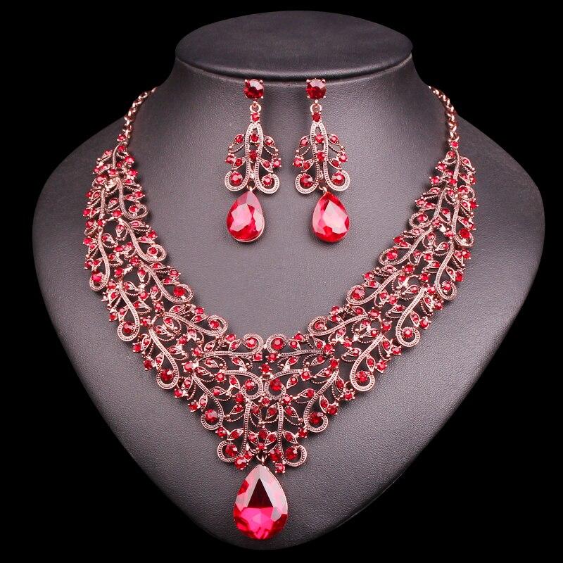 Fashion Crystal Necklace Earring Sets Vintage Bridal