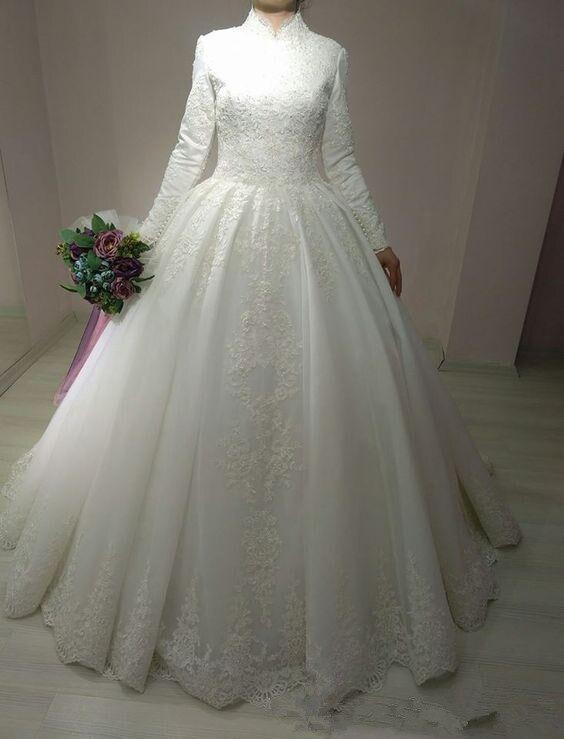 Robe De Mariage Arabic Bridal Gown Islamic Long Sleeve Arab Ball Gown Lace Muslim Wedding Dress