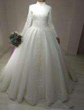 Robe De mariée en dentelle, Robe De mariée islamique à longues manches, Robe De bal arabe, Robe De mariée musulmane en dentelle, 2020