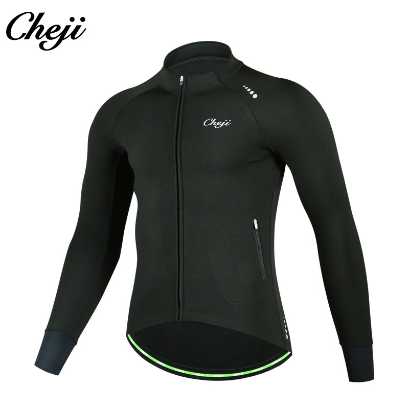 CHEJI Men Winter Thermal Cycling Kits MTB Road Bike Long Sleeves Fleece Bicycle Jacket Black Blue Bike Long Pants Cycling Set