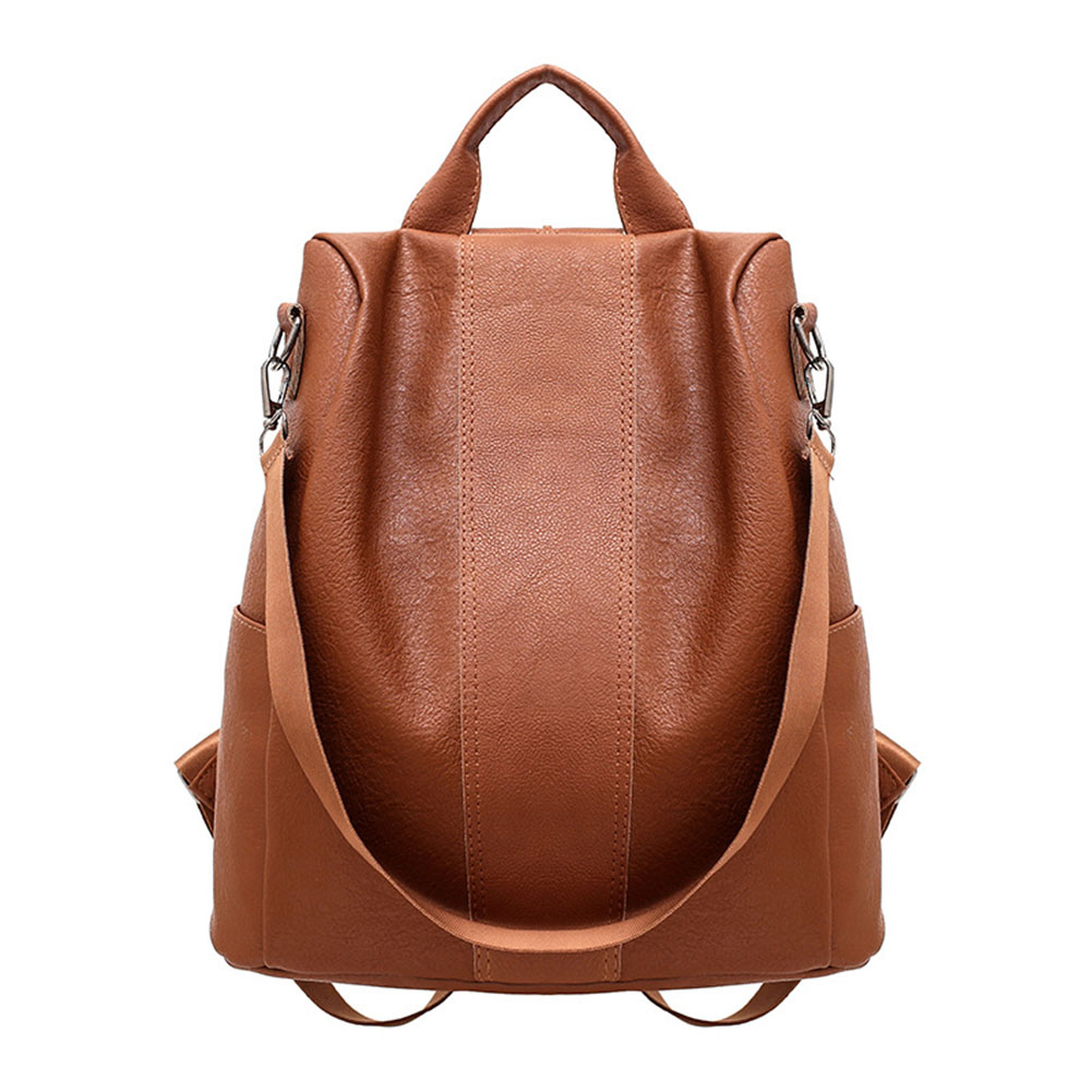 High Quality PU Leather Backpack Women Patchwork Casual Anti-Theft Backpacks