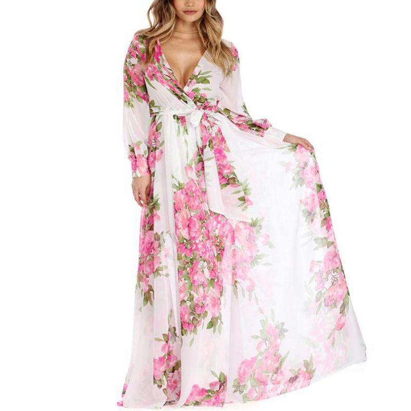 Женские летние плюс размеры Длинные фонари рукавом вечернее шифоновое платье макси платье Глубокий v образный вырез обёрточная бумага спер