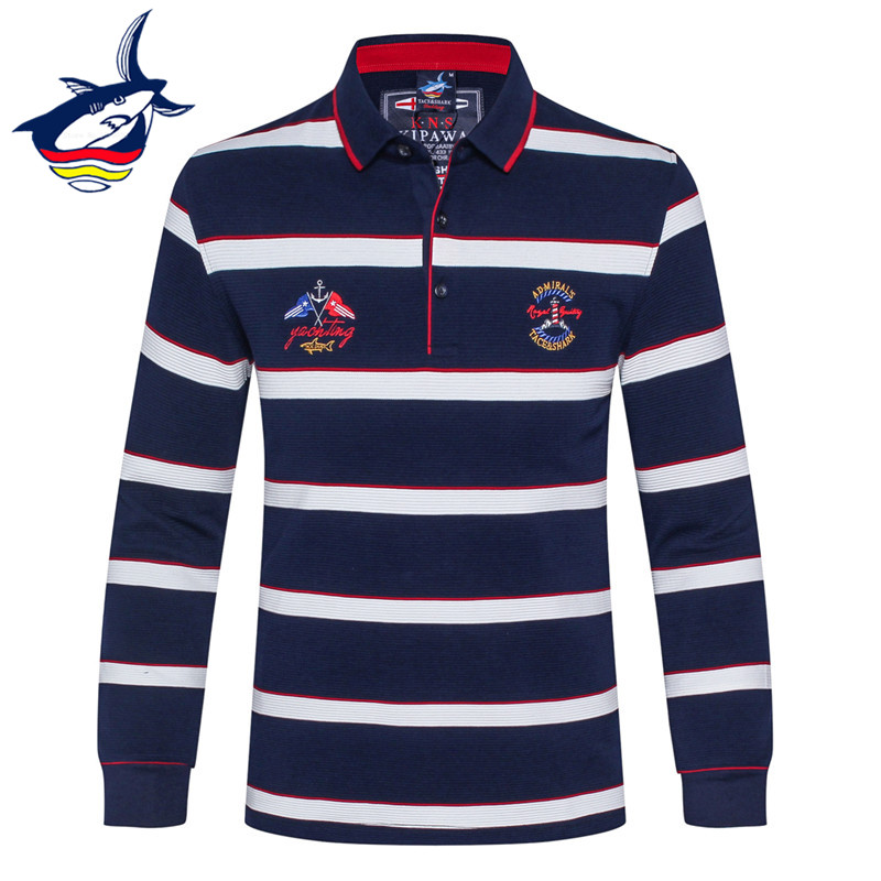 New Brand Tace & Shark Long Sleeve   Polo   Shirt Men Fashion Embroidery Cotton Breathable Striped   Polo   Men camisa masculina