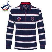 New Brand Tace & Shark Long Sleeve Polo Shirt Men Fashion Embroidery Cotton Breathable Striped Polo Men camisa masculina
