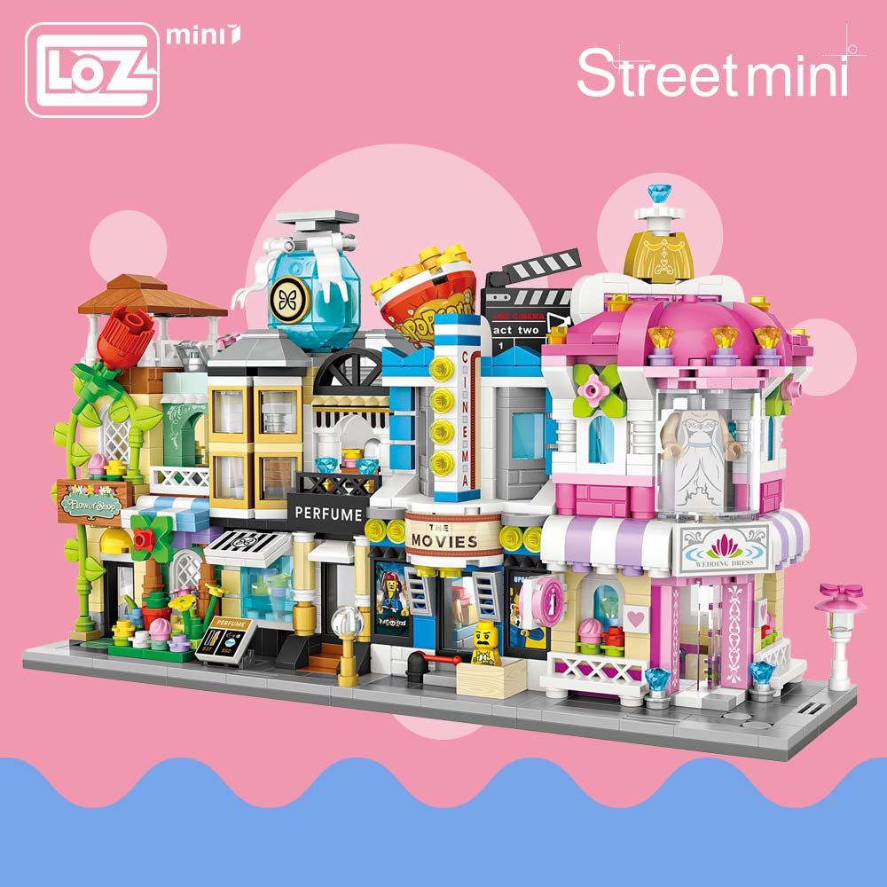 LOZ Block Architecture Model Building Blocks Series Street Store Perfume Shop Cinema House Toy Children 1633-1636