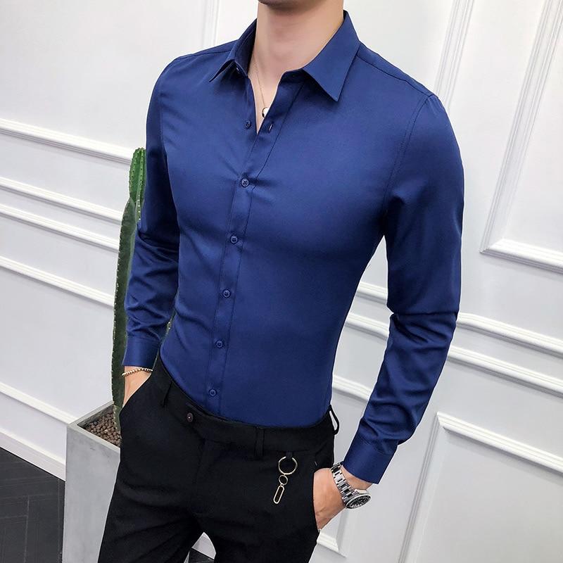 High Quality Men Shirt Long Sleeve Solid Formal Business Shirt Slim Fit Brand Man Dress Shirts Social Turn-down Collar 5Colors