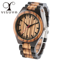 YISUYA Full Wood Watch Men Fashion Quartz Wooden Wristwatch Fold Clasp Luxury