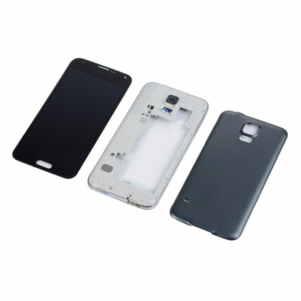 Para Samsung Galaxy i9600 S5 G900F G900T G900V G900A Display LCD Quadro Oriente Habitação Moldura Tampa Da Bateria Tampa Traseira