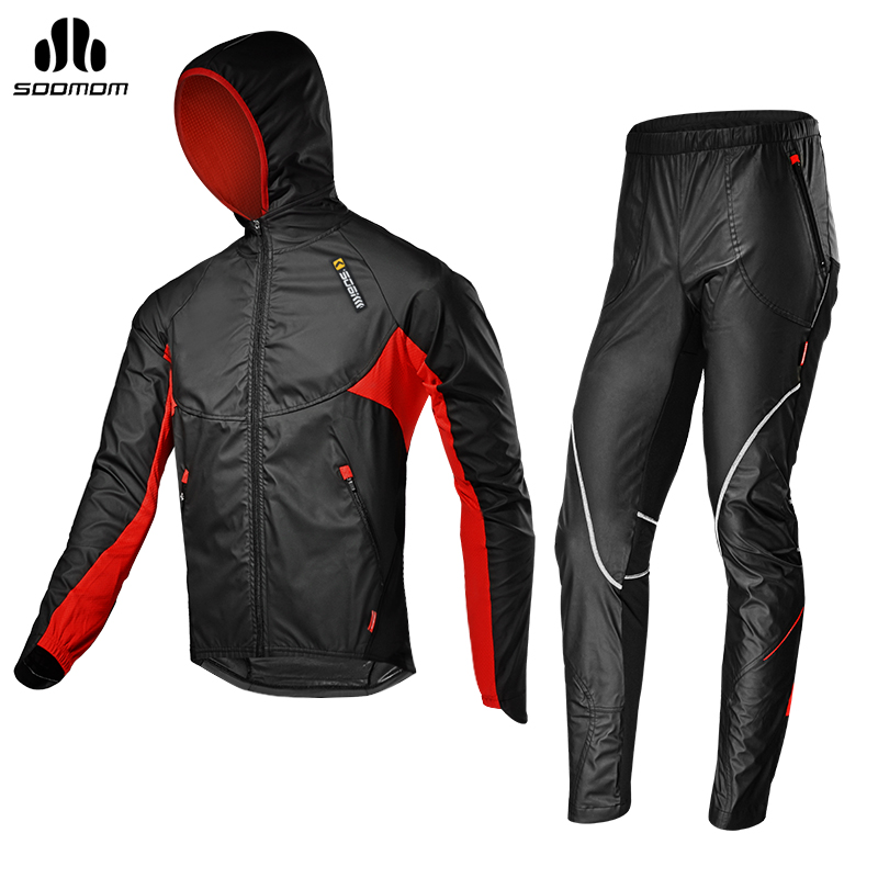 SOBIKE Men s Cycling Bicycle Jacket Sets Bike Cycle Windproof Long Jersey with hood Full Pants