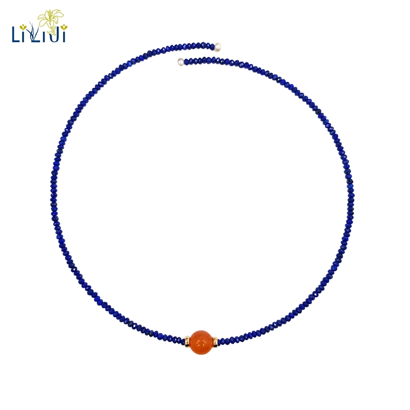 LiiJi Unique Natural Lapis Lazuli 2x3mm Carnelian Freshwater Pearl with 925 Sterling Silver Gold Color Choker Neckalce