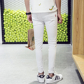 Biker Hole Hiphop Pants Men's Tide Feet Pants Male Korean Hole Trouser Slim White Black Pants Men Skinny Pants Joggers Homens