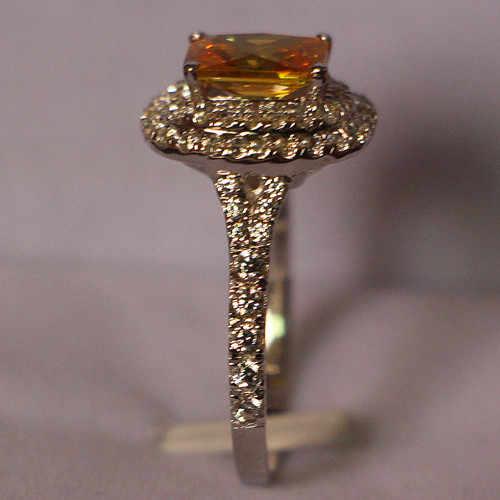 Блестящее 1Ct желтое свадебное кольцо принцессы из стерлингового серебра 925 пробы, обернутое в белое золото, не аллергические ювелирные изделия
