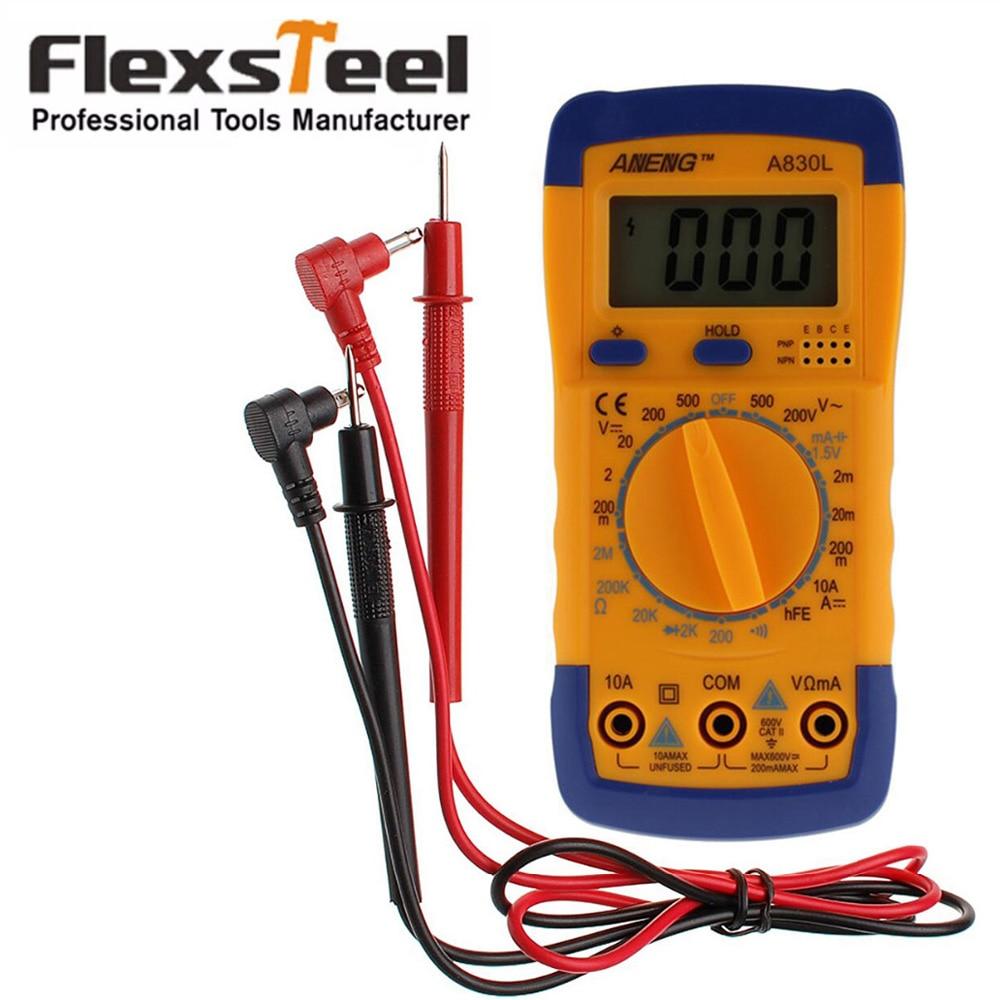 Flexsteel Multímetro Digital A830L Multímetro Amperímetro Ohmmeter Voltímetro Megohmmeter hFE Tester Atual com LCD Backlight