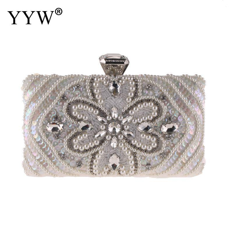 YYW Women Crystal Evening Bag Black Fashion Lady White With Rhinestones Silver Wedding Clutch Female Party 2019