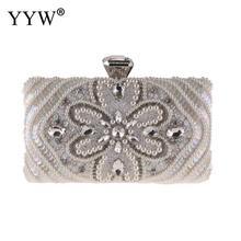 YYW Women Crystal Evening Bag Black Fashion Lady White With Rhinestones Silver Wedding Clutch Female Party 2019