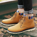 Men's autumn winter PU leather snow boots khaki comfortable warm casual shoes Zapatos Hombre sapato masculino LAN30M