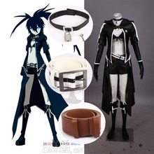 Athemis Leather Jacket Set VOCALOID Hatsune Miku BLACK ROCK SHOOTER Cosplay Sexy Bikini Suits Attractive Long Coat Outfit