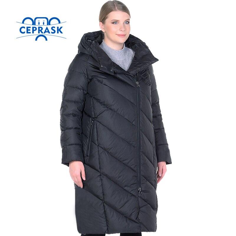 CEPRASK 2017 High Quality Women Winter Jacket Plus Size Long Fashionable Womens Winter Coat Hooded Warm Down Jacket Parka 6XL