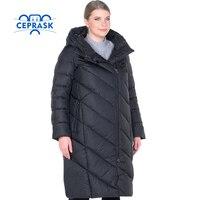 Ceprask 2017 высокое качество Для женщин зимняя куртка плюс Размеры длинные модные Для женщин зимнее пальто с капюшоном теплая куртка пуховик па
