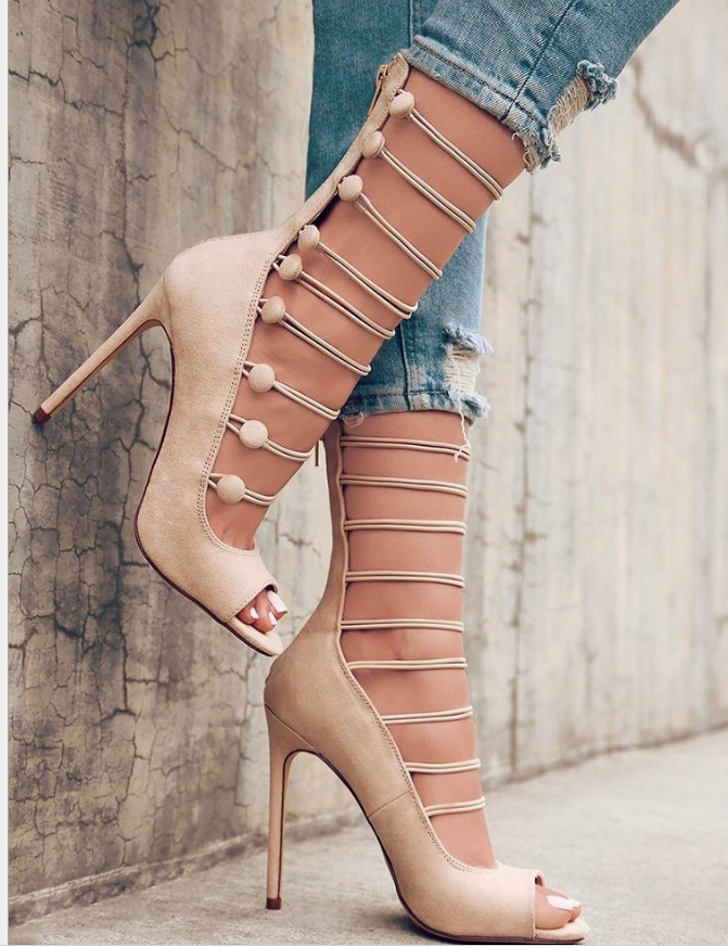 Hollow Fish Mouth High-heeled Sandals Women Shoes Ankle Boots Super Heels Good High Quality Sexy nice Pumps