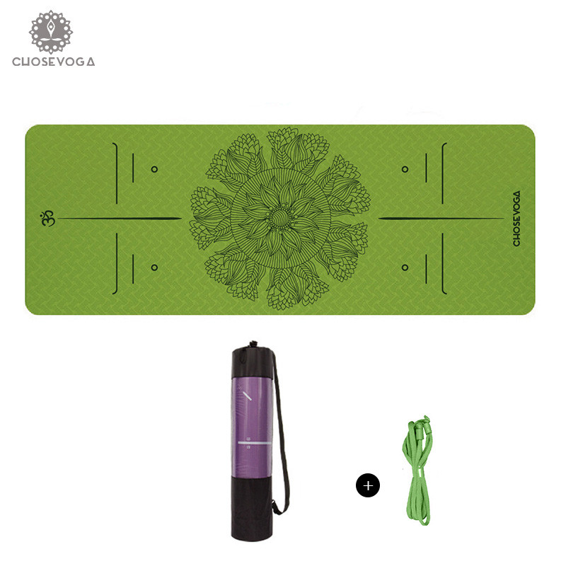 Lotus Flower Series TPE Yoga Mat 183*80cm*6mm Eco-Friendly Non Slip Pilates Gym Fitness Mat Sports Gym Mat With Yoga Belt Bag canvas elephant yoga mat bag large capacity gym bag sports handbag fitness dance gymnastics pilates athletes exercise mat bags
