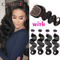 8A Malaysian Body Wave 4 Bundles With Closure Unprocessed Malaysian Hair Bundles With Lace Closures Human Hair With Closure