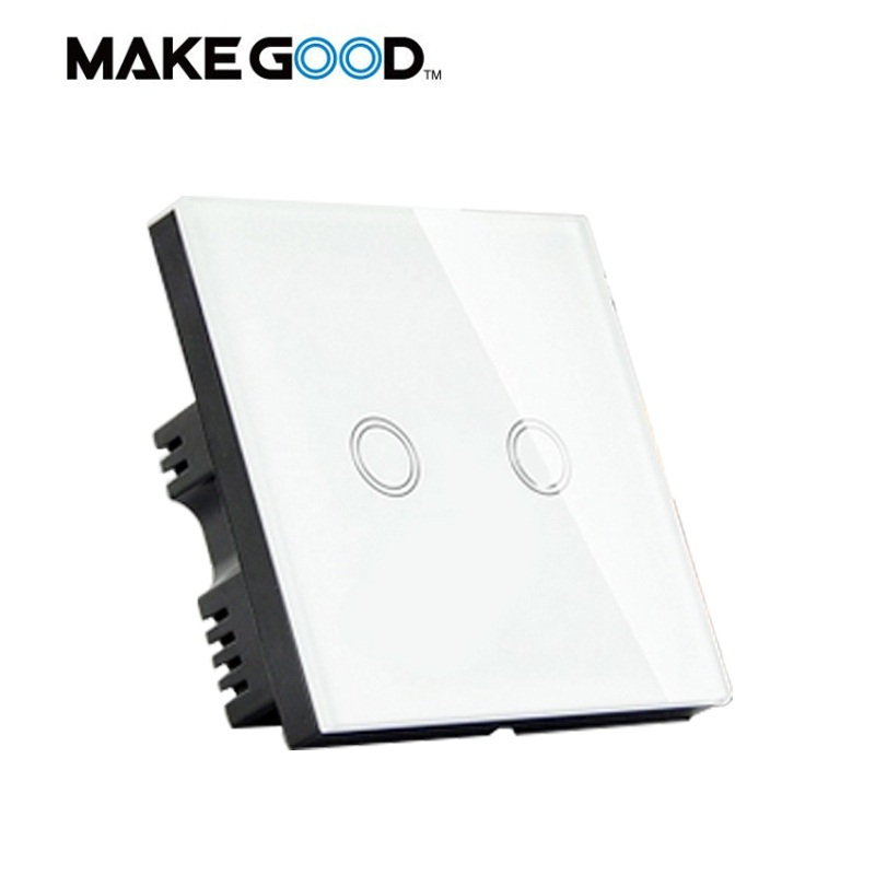 MakeGood UK Standard 2 Gang 1 Way Smart Touch Switch,Crystal Glass Panel Wall Switch,AC 110-250V/1000W for Light+LED Indicator 2017 smart home wall switch white crystal glass panel light touch switch 1 gang 1 way ac 110 250v 1000w for light