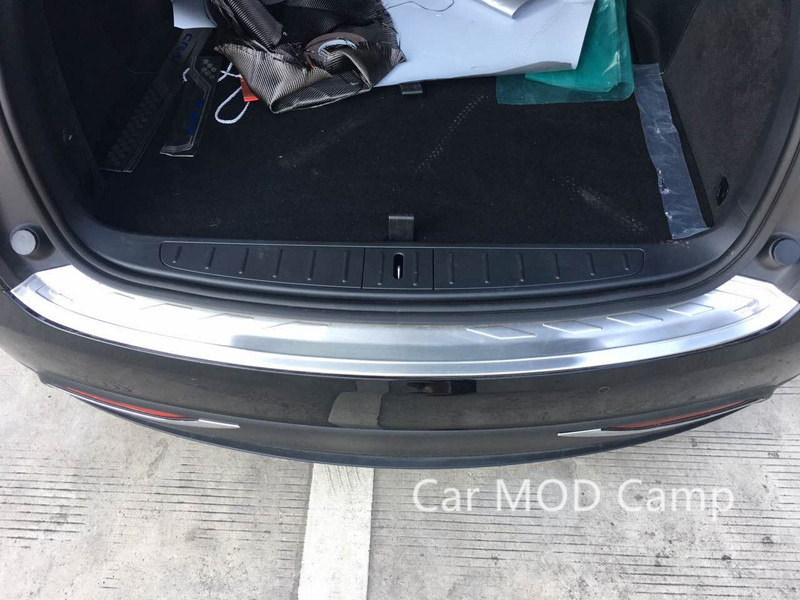 For Tesla Model X 2016 2017 2018 Stainless Steel Outer Rear Bumper Protector Guard Plate Trim 1pcs Car Styling Accessories! for hyundai new tucson 2015 2016 2017 stainless steel skid plate bumper protector bull bar 1 or 2pcs set quality supplier