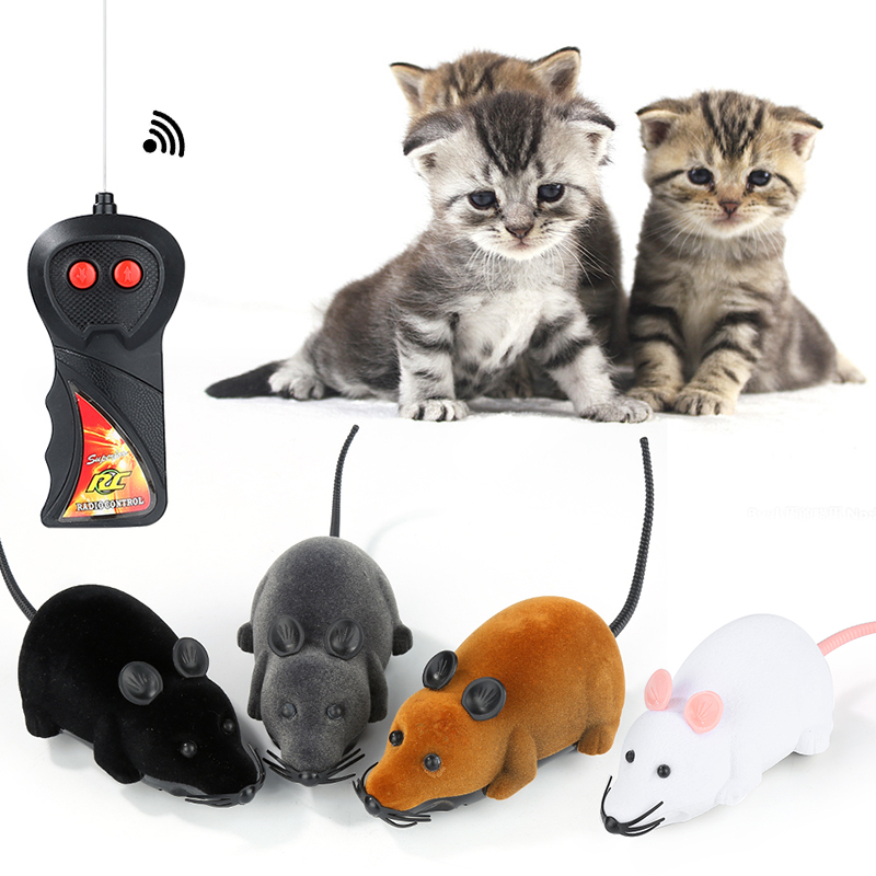Hot selling New Black White Funny Pet Cat Mus Toy Wireless RC Grå Rat Rat Mus Toy Remote Control Mouse För barn leksaker freeshipping