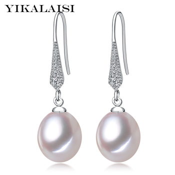 b3c8fd69a2ad YIKALAISI de Plata de Ley 925 perlas naturales de agua dulce pendientes de  la joyería para las mujeres 8-9mm Real Rosa Blanco Perla negro púrpura