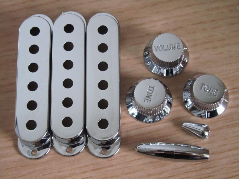 Chrome ST Style Guitar Knobs,Pickup Covers,Switch Tip and Whammy Bar Tip single coil pickup cover 1 volume 2 tone knobs switch tip for strat guitar replacement ivory 10 set