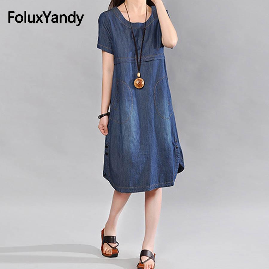 Blue Casual Jeans Dress Women Plus Size Round Neck Short Sleeve Summer Midi Denim Dress Vestidos MMHH656oil