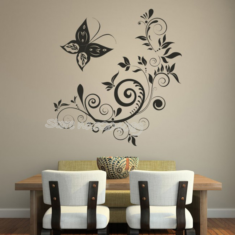 butterfly swirls and flower wall sticker for living rooms bedroom