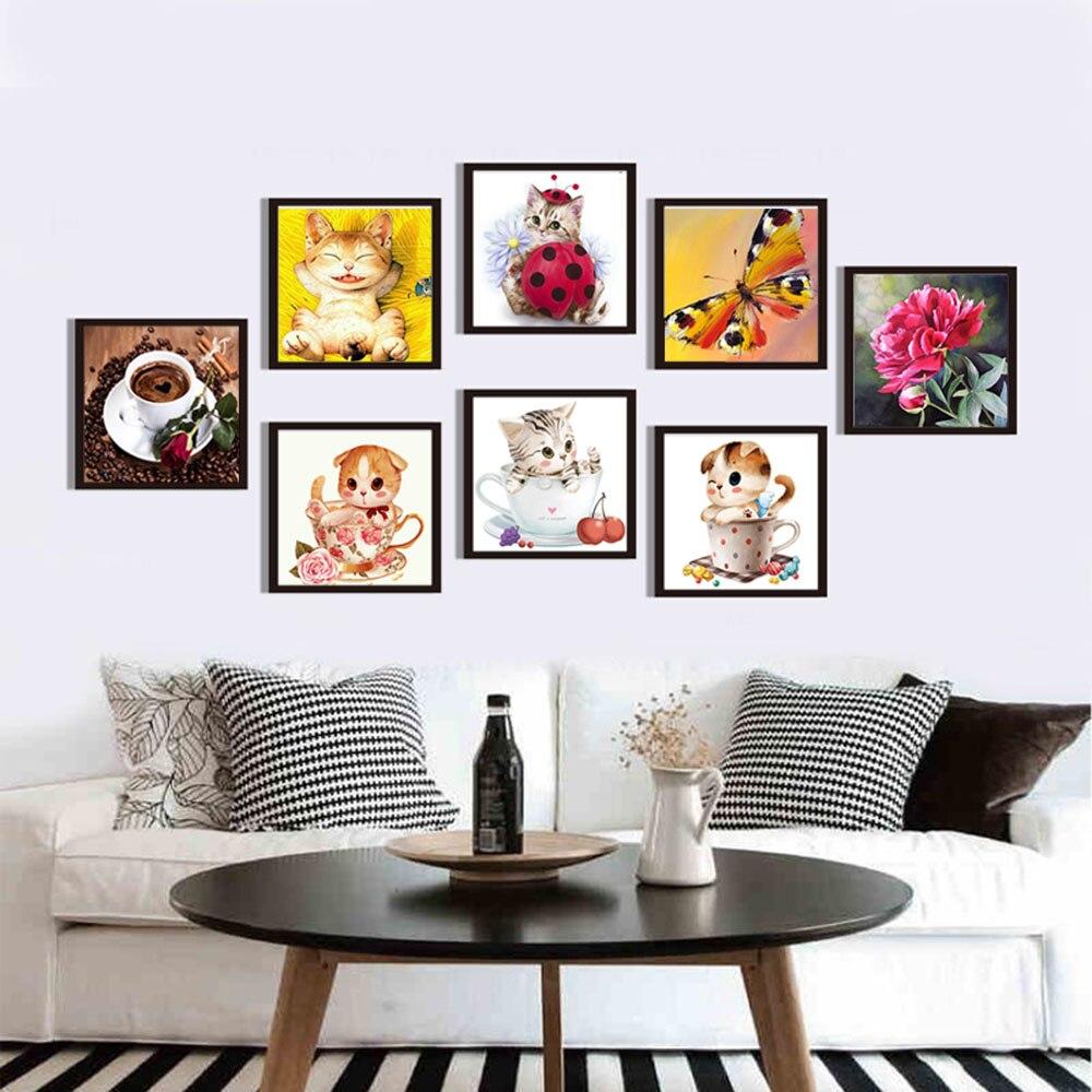 DIY 5D бриллиантами Вышивка Животные Товары для кошек мультфильм Вышивка с кристаллами 3D diamond moasic Роза подарок Наборы украшения дома