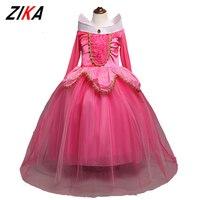 Girls Dress Long Sleeve Dresses Children Aurora Princess Ball Gown Kids Party Costume Sleeping Beauty Halloween