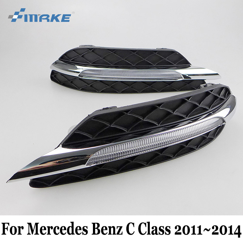 SMRKE DRL For Mercedes Benz C Classe W204 S204 C180 C200 C220 C250 C260 C300 C350 2011~2014 / 12V Car LED Daytime Running Lights