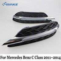 SMRKE DRL Voor Mercedes Benz C Classe W204 S204 C180 C200 C220 C250 C260 C300 C350 2011 ~ 2014/12 V Auto Led-dagrijverlichting