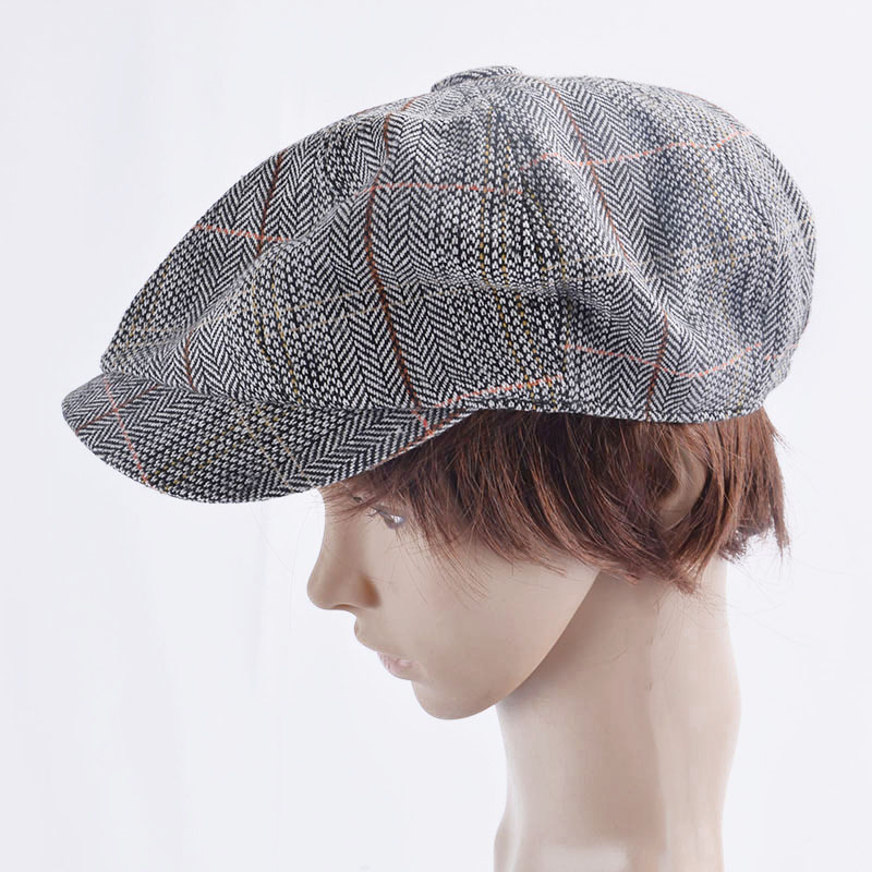 Men Beret Hat Gentleman Octagonal Cap Winter Spring Tweed Wool Newsboy Caps Plaid Man Beret 3